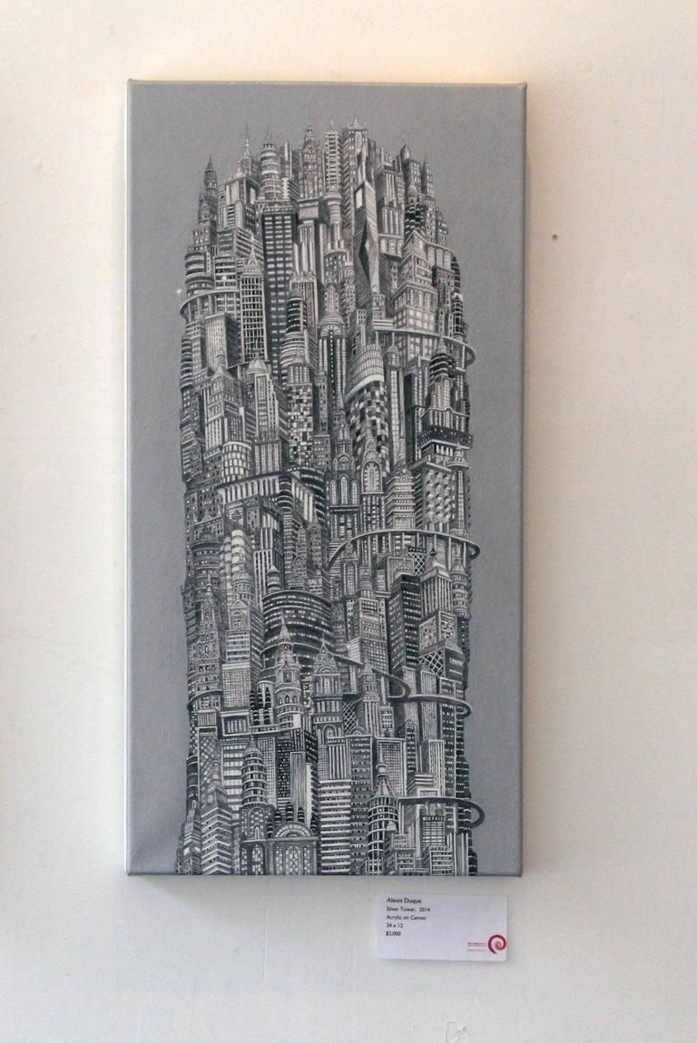 Alexis Duque Landscape Painting - Silver Tower, NYC Buildings, Chrysler Building, Reimagined Metropolis, Acrylic
