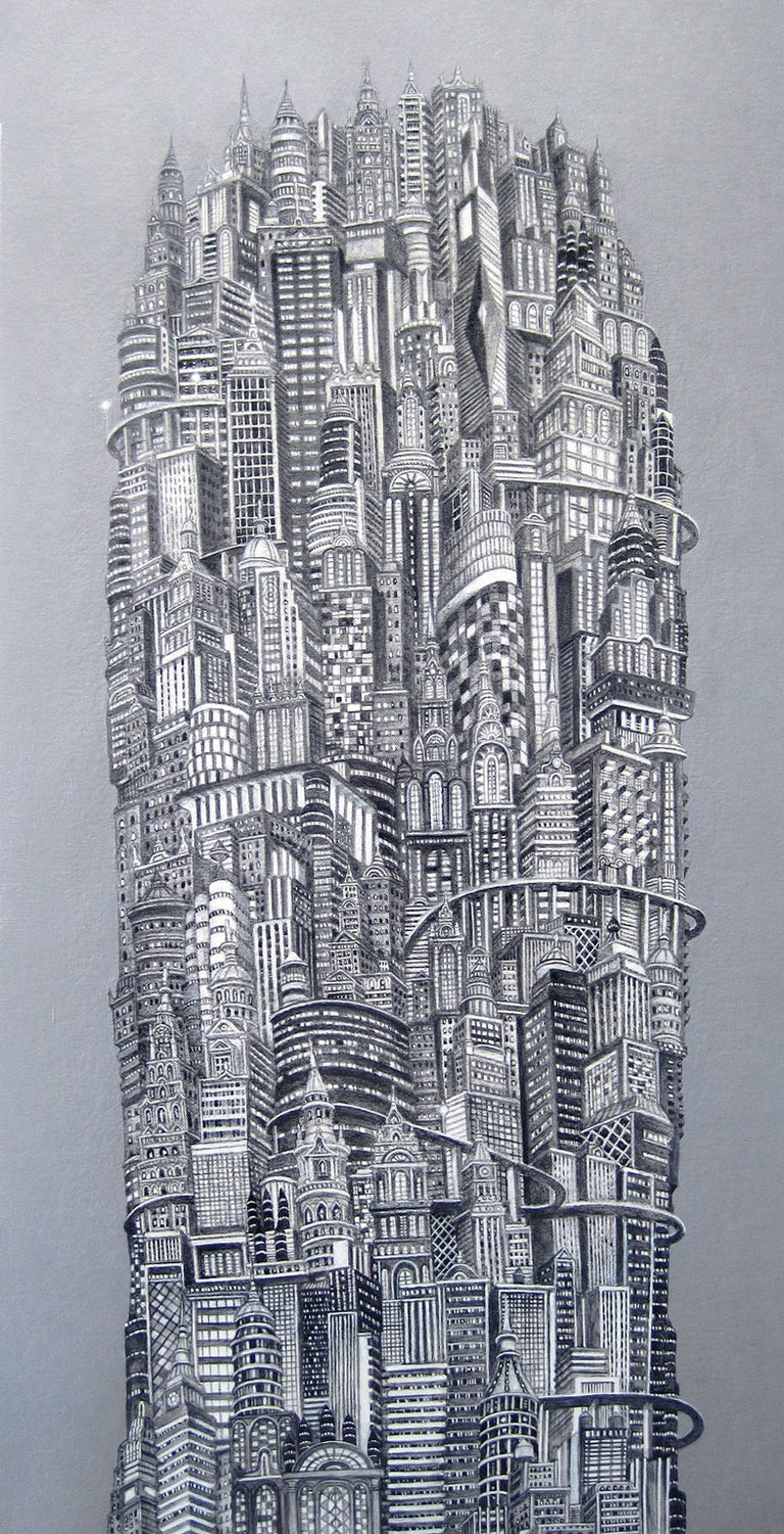 Silver Tower, NYC Buildings, Chrysler Building, Reimagined Metropolis, Acrylic - Painting by Alexis Duque