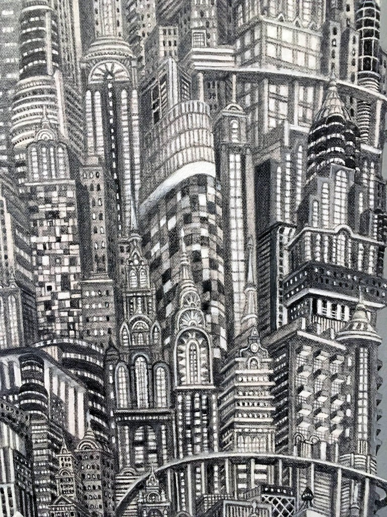 Silver Tower, NYC Buildings, Chrysler Building, Reimagined Metropolis, Acrylic - Realist Painting by Alexis Duque