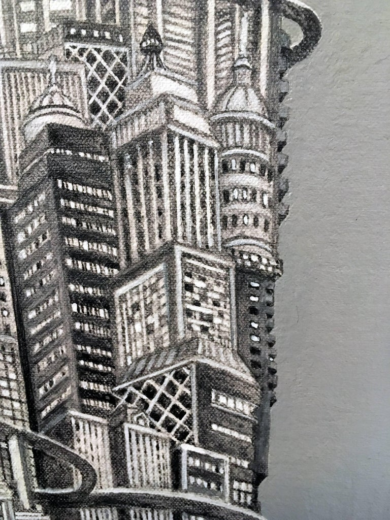 Silver Tower is a painted cityscape by Colombian artist, Alexis Duque.  It is highly detailed, acrylic on canvas, 24x12.  This painting is a reimagined metropolis.  The intricate architectural buildings and details bring to mind the work of MC