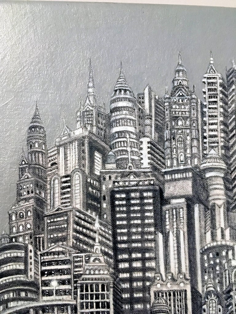 Silver Tower, NYC Buildings, Chrysler Building, Reimagined Metropolis, Acrylic For Sale 1