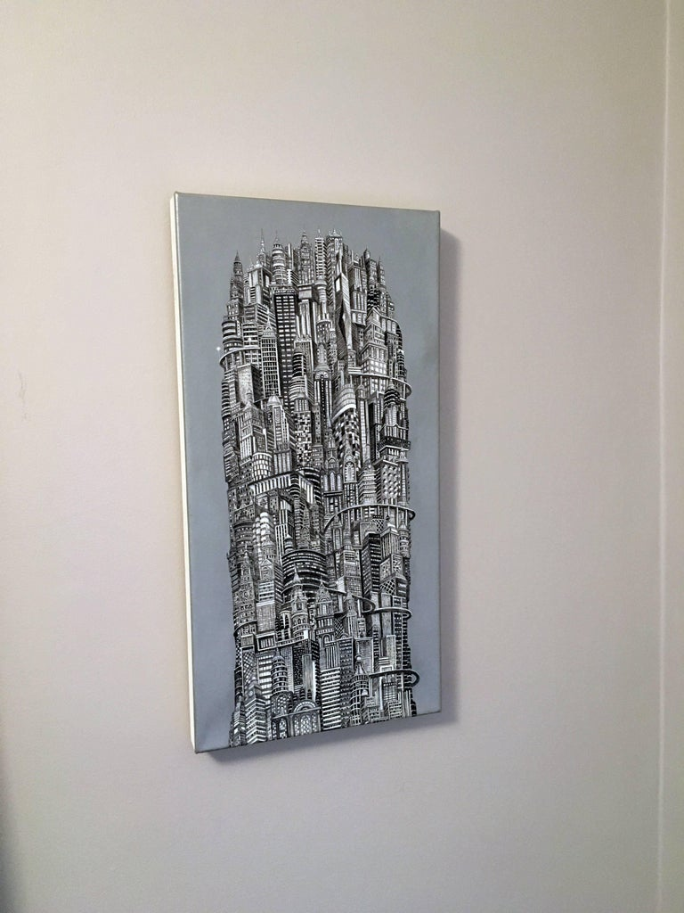 Silver Tower, NYC Buildings, Chrysler Building, Reimagined Metropolis, Acrylic For Sale 2