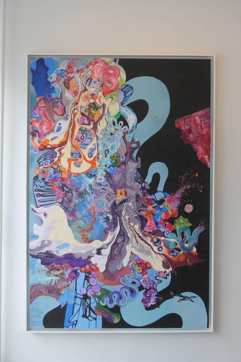 Kimber Berry, A Dance With Dragons,  Acrylic and Mixed Media on Canvas, 72x48.  It is in a float white frame.  This is a layered, dimensional contemporary painting.  It is filled with black, blue, purple, orange, and vibrant colors.  Berry is a