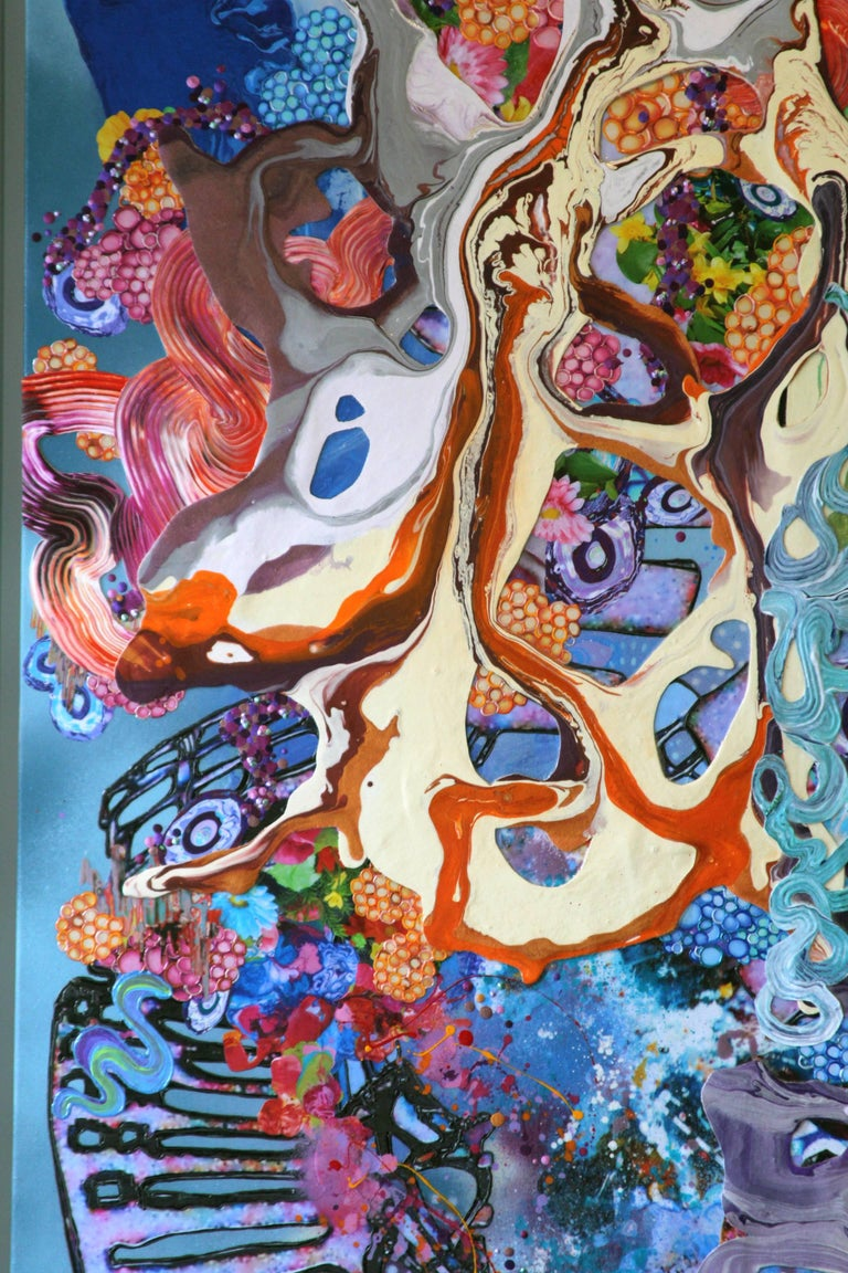 A Dance with Dragons, Mixed Media, Abstract, Large Painting, Blue For Sale 1