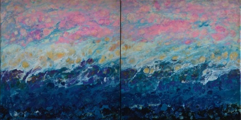 Lac Trouser, Pink, Blue, Abstract, Landscape, painting, Mixed Media, diptych 1