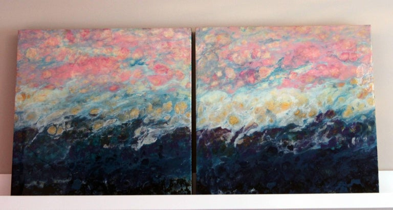 Lac Trouser, Pink, Blue, Abstract, Landscape, painting, Mixed Media, diptych 5