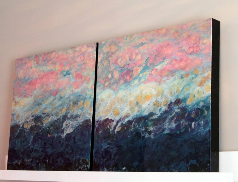 Lac Trouser, Pink, Blue, Abstract, Landscape, painting, Mixed Media, diptych 6