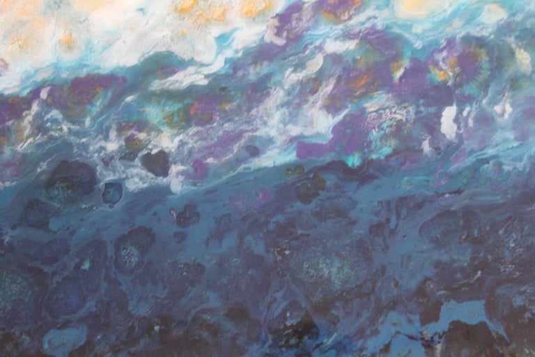 Lac Trouser, Pink, Blue, Abstract, Landscape, painting, Mixed Media, diptych 4