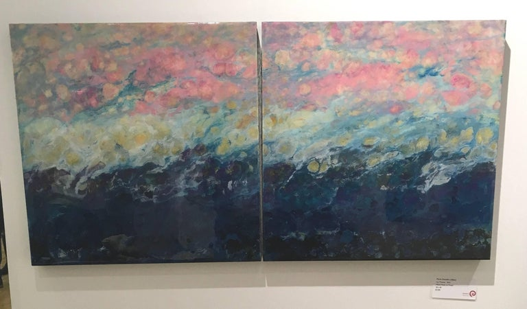 Lac Trouser, Pink, Blue, Abstract, Landscape, painting, Mixed Media, diptych 7