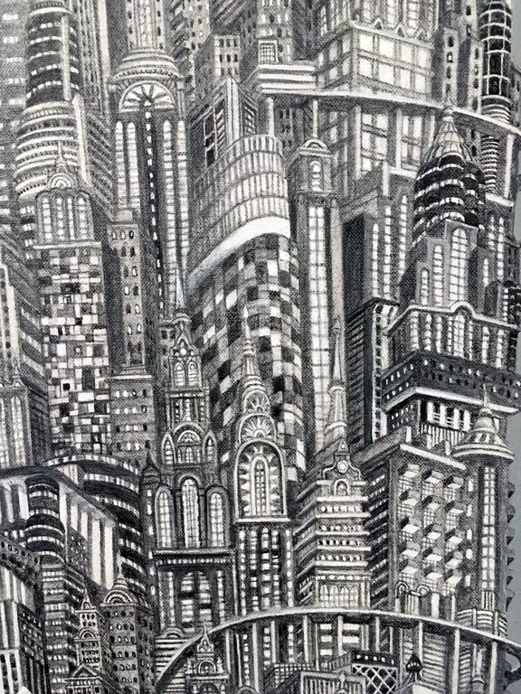 Silver Tower - Realist Painting by Alexis Duque