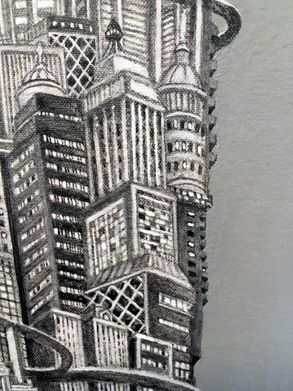 Silver Tower - Black Landscape Painting by Alexis Duque