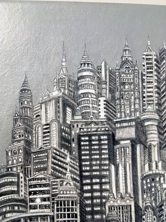 Silver Tower is a painted cityscape by Colombian artist, Alexis Duque.  It is highly detailed, acrylic on canvas, 24x12 Colombian artist, Alexis Duque creates architecturally detailed drawings inspired by real skyscrapers including the Chrysler