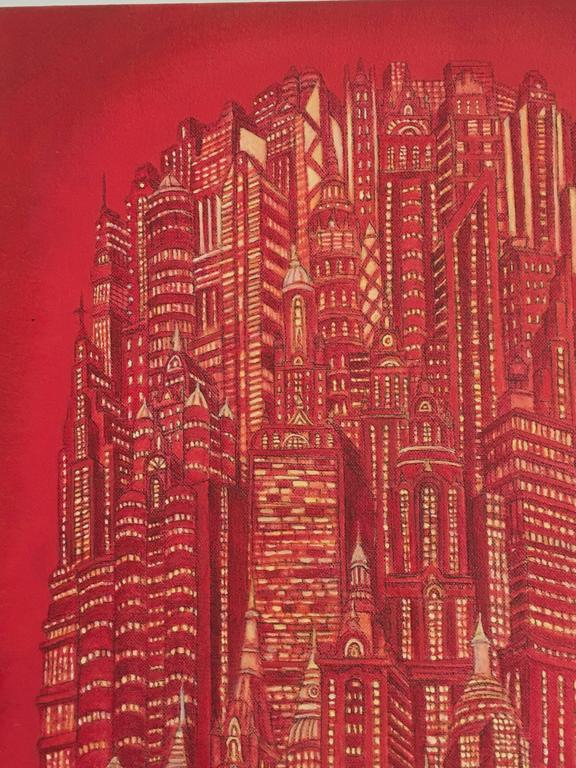Red Tower is an acrylic on canvas painting by Alexis Duque.  Columbian artist, Alexis Duque creates architecturally detailed drawings inspired by real skyscrapers including the Chrysler Building, Empire State, Flatiron and other landmarks to build