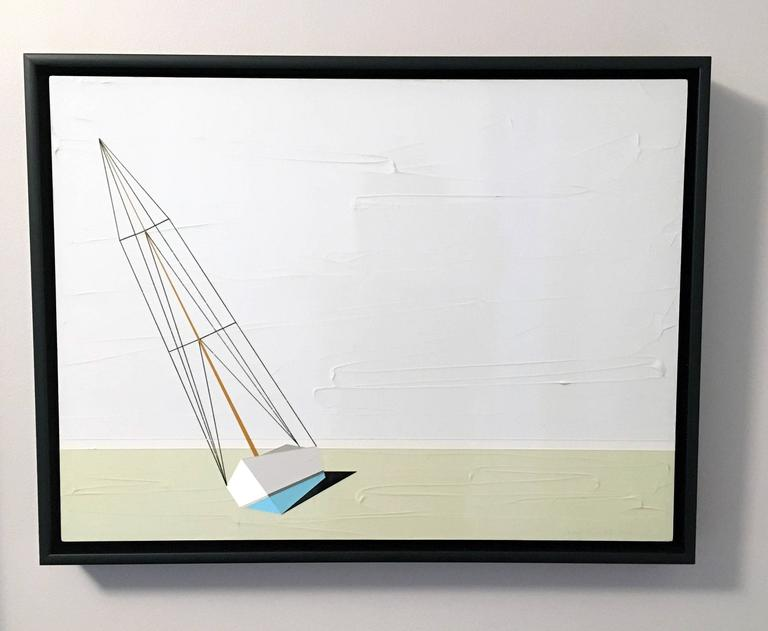 Jason Wright Landscape Painting - Darling, Oil and Acrylic Painting, Sailboat, Textured