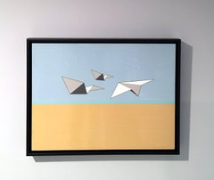 Away We Go, Oil and Acrylic painting, Paper Airplanes, Blue, Brown, White