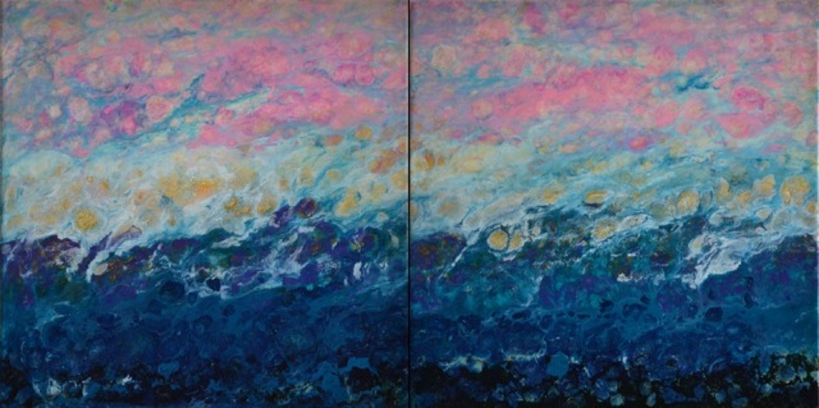 Lac Trouser, Blue, Abstract, Landscape, painting, Mixed Media, diptych, Pink