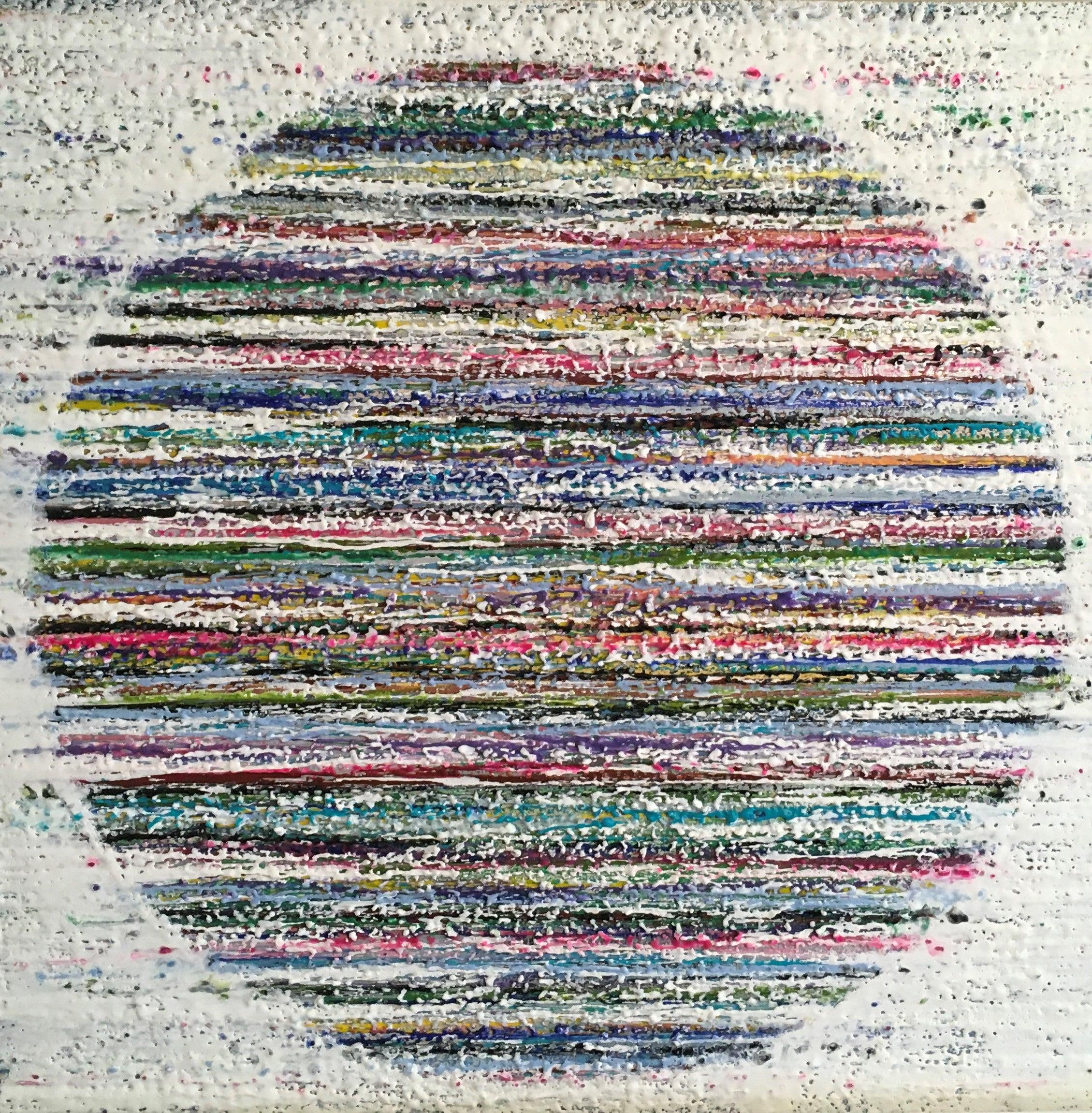 Cape Breton, Encaustic, Blue, Pink, Green, White, Circle, Textured, 30x30