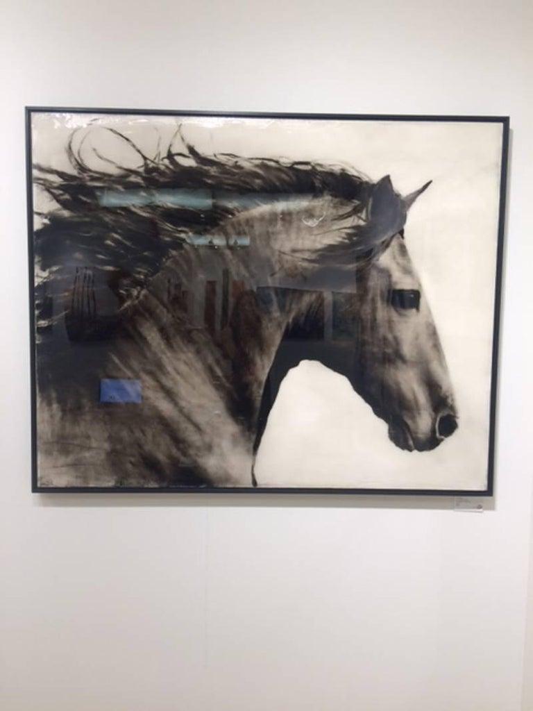 Flee to Freedom Equestrian Painting - Black Animal Painting by Ken Peloke