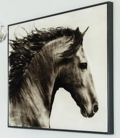 Flee to Freedom, Hyperrealistic Horse Painting, oil, black and white, framed