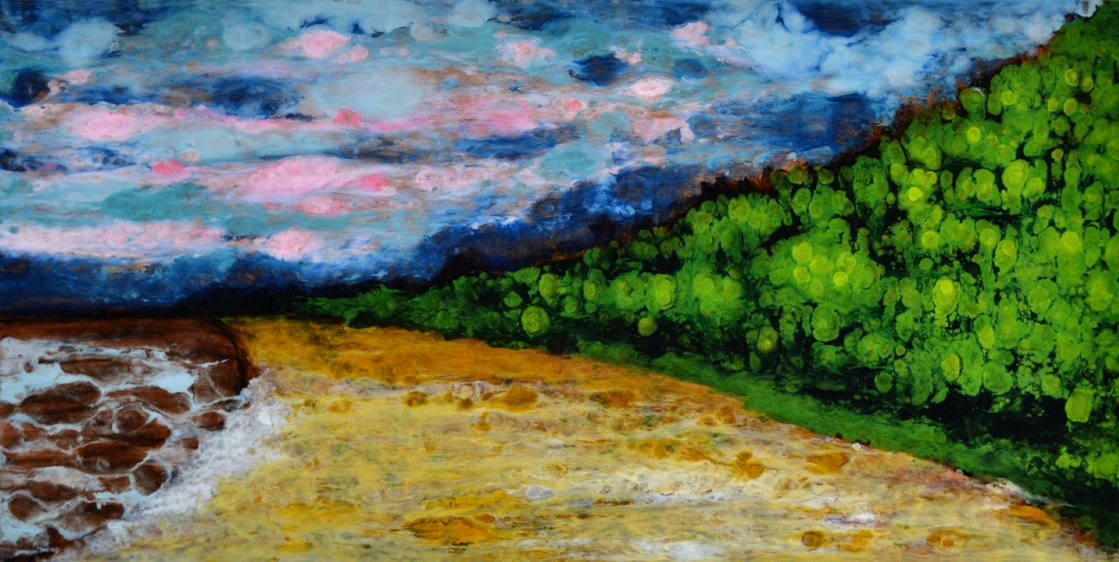 St Henri de Taillon, 30x60, abstracted landscape, Hi-gloss, Green, Yellow, Pink