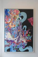 A Dance with Dragons, Kimber Berry, Mixed Media, Abstract, Large Painting, Blue