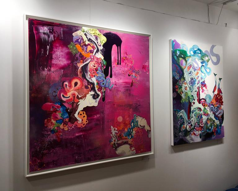 Thank You for the Magic Carpet Ride is a mixed media, abstract painting by California Artist, Kimber Berry.  It has Acrylic, collaged photographs and layering to create a vibrant artwork filled with pink, black and blue and a range of colors.  It is