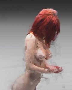 Crimson Me,  digital painting of nude female figure, abstracted