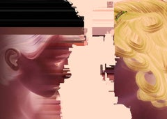 Dialog, two digitally abstracted figures, pink and yellow