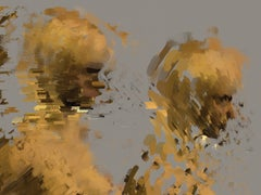 Digital Profile, digital painting of nude female figures, abstracted