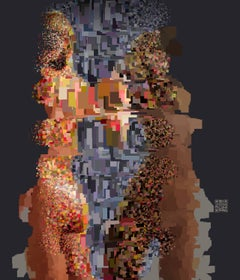 Synapse, digital painting of nude female figures, abstracted