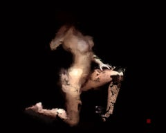 The Touch, digital painting of nude female figure, abstracted