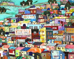 Coexistence, town with multicolored apartments and buildings, mixed media