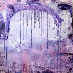 Semi Sweet, bright purple abstract expressionist painting on canvas