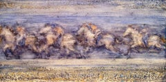 Four Running Horses, abstract oil painting of horses running, landscape