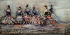 Six Dancers, abstract figurative oil painting on panel, women dancing