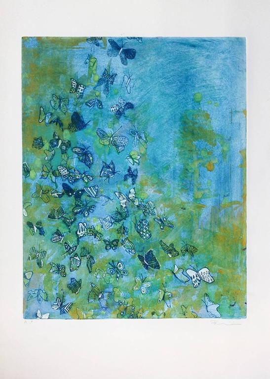 Fumiko Toda Animal Print - Butterfly Away (Blue)