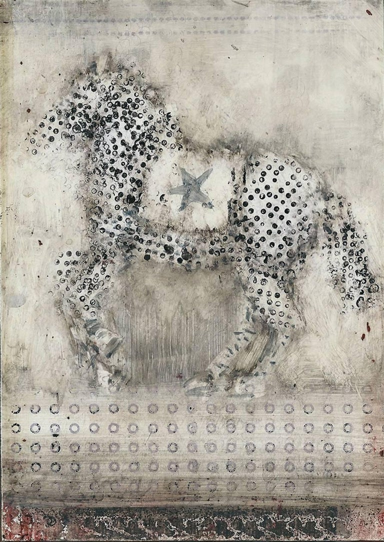 Alicia Rothman Animal Painting - Starhorse 3, abstract oil panting of horse on panel, grey