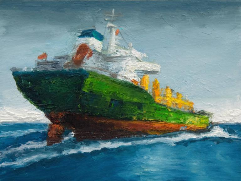 Victor Honigsfeld Landscape Painting - The Green Ship