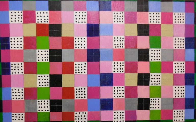 Caroline Blum Abstract Painting - Squares and Dots