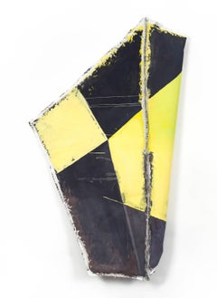 Drifter, black and yellow geometric abstract painting on muslin