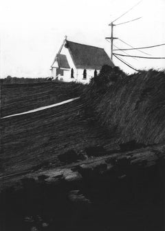 St. Hillary's, black and white monotype on paper, house