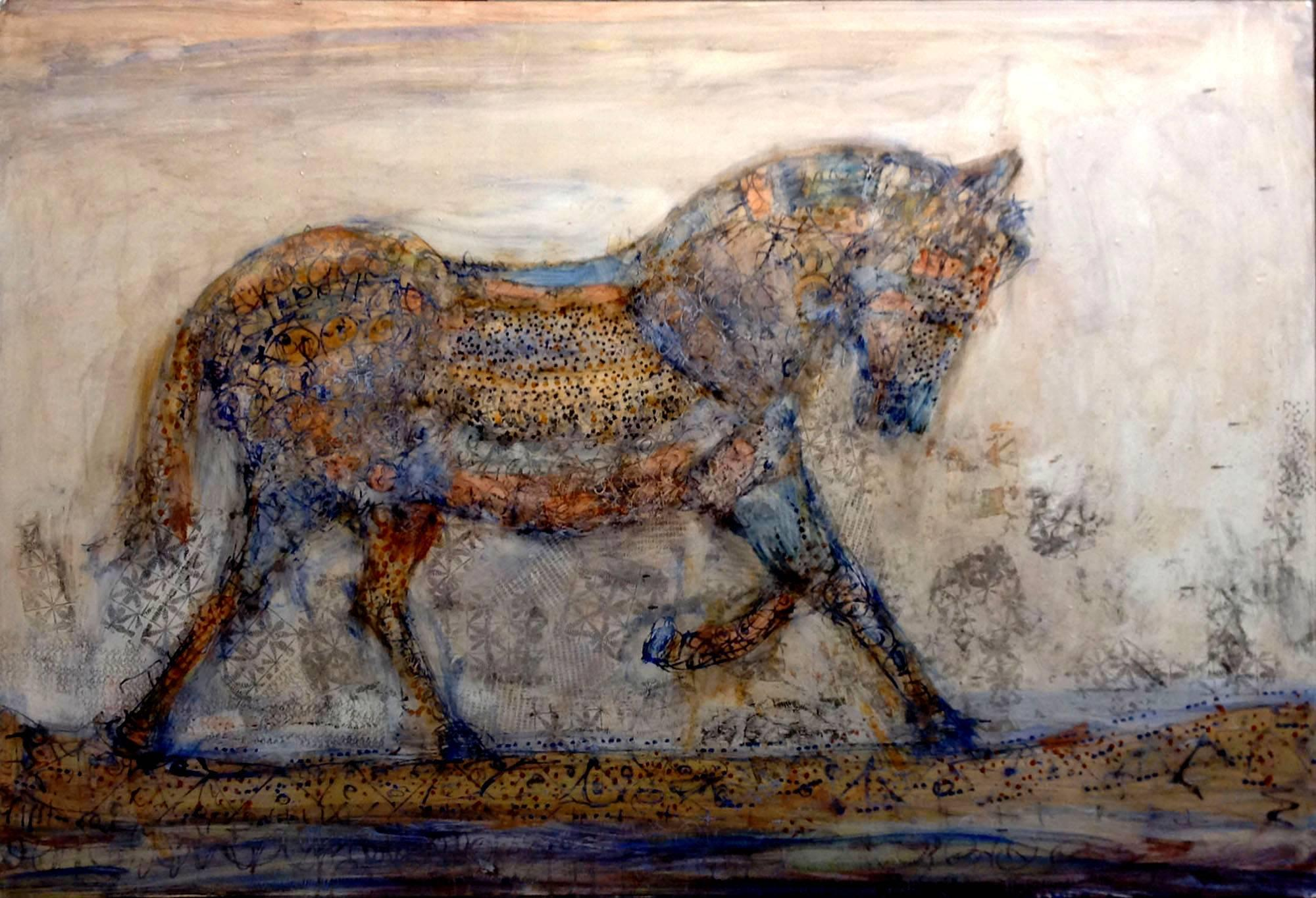 Arion, abstract oil painting of horse on panel