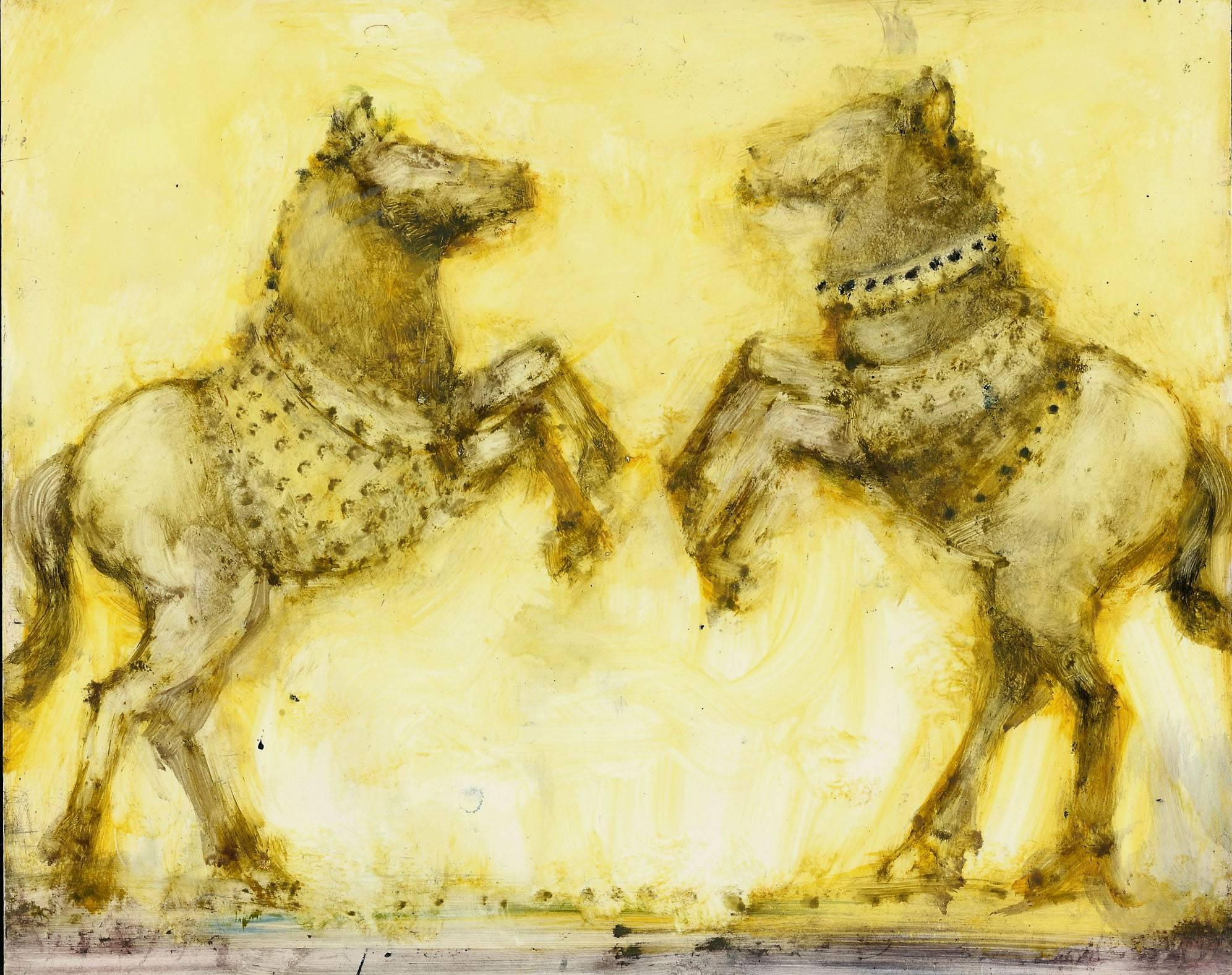 Two Yellow Horses, oil painting on panel