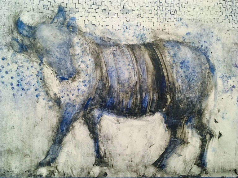 Alicia Rothman Animal Painting - Blue Bull Walking