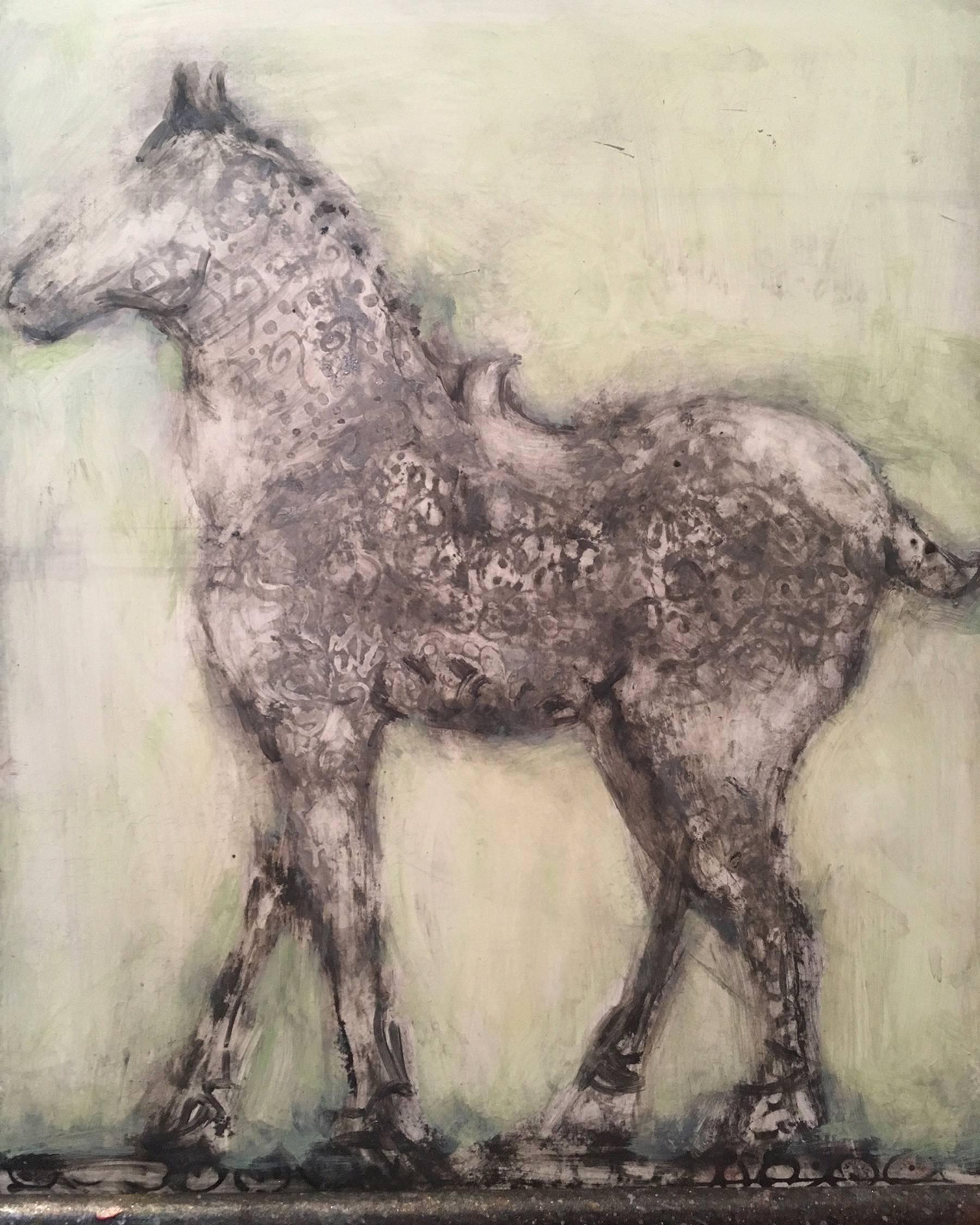 Celdadon Horse, earth tone oil painting on horse on panel