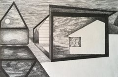 Whisper, graphite on paper, 5.25 x 8.125 inches. Architectural forms