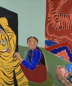 Carpets. Acrylic on canvas, portrait of Cambodia shopkeeper and textiles