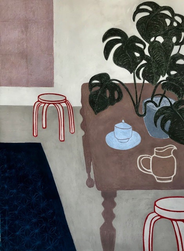 Jordaan, large interior work on paper, still life with plants
