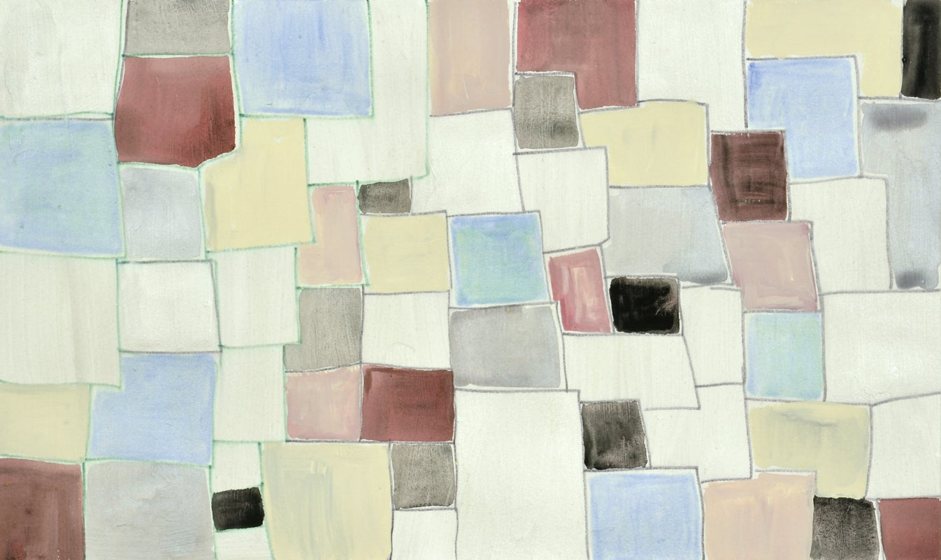 #130, neutral multicolored mixed media on paper, geometric pattern