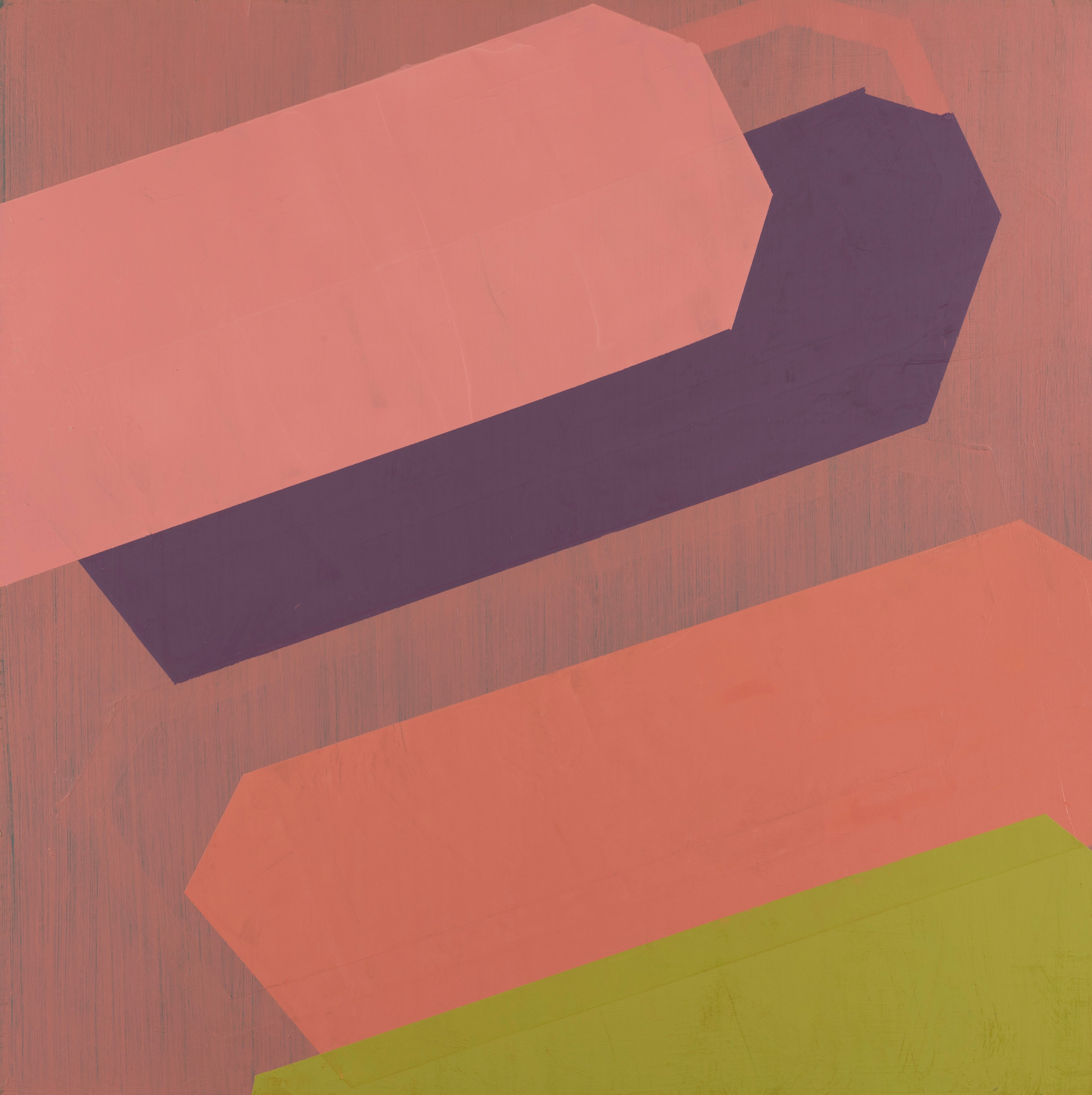 Pose, pink minimalist oil painting on panel, abstract shapes